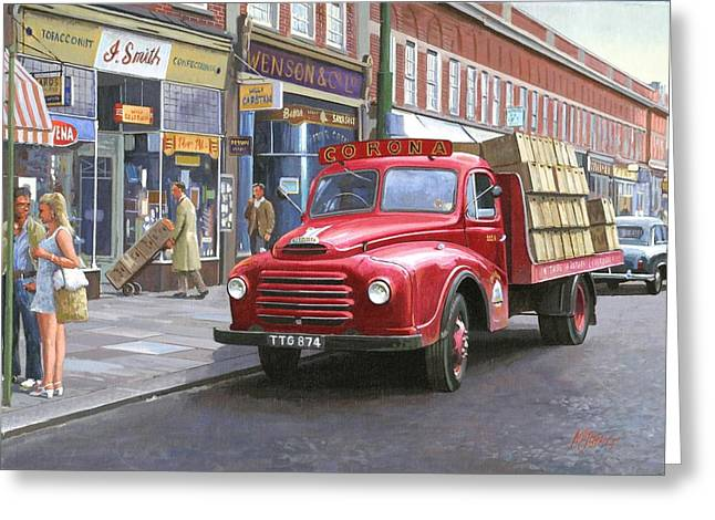 Streetscenes Paintings Greeting Cards - Corona drinks lorry. Greeting Card by Mike  Jeffries
