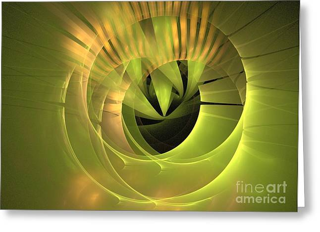 Gold Lime Green Greeting Cards - Corona Greeting Card by Kim Sy Ok