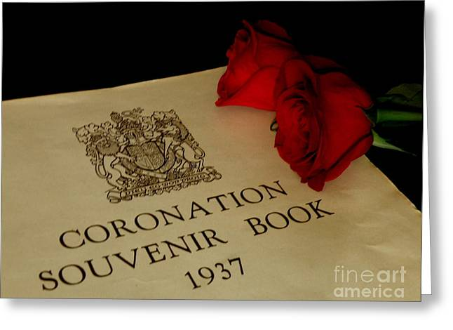 Lainie Wrightson Greeting Cards - Coronation Book with Roses Greeting Card by Lainie Wrightson
