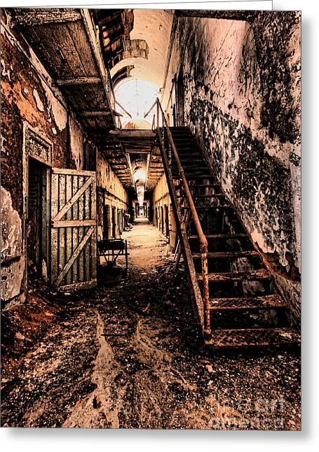 Eastern State Greeting Cards - Corridor Creep Greeting Card by Andrew Paranavitana