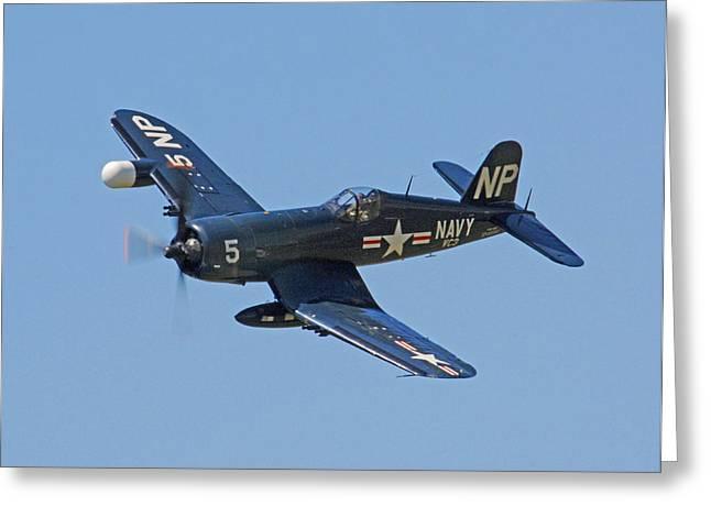 Bomber Escort Greeting Cards - Corsair 05 Greeting Card by Jeff Stallard