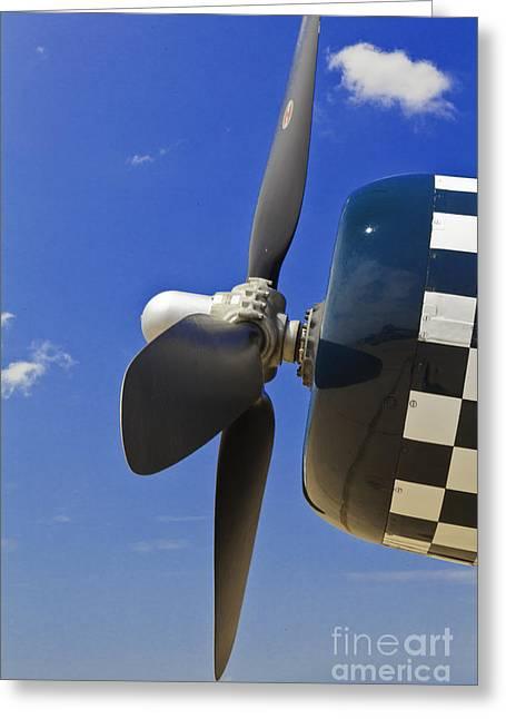 Aviation Art Framed Prints Greeting Cards - Corsair Fighter Propeller Greeting Card by M K  Miller