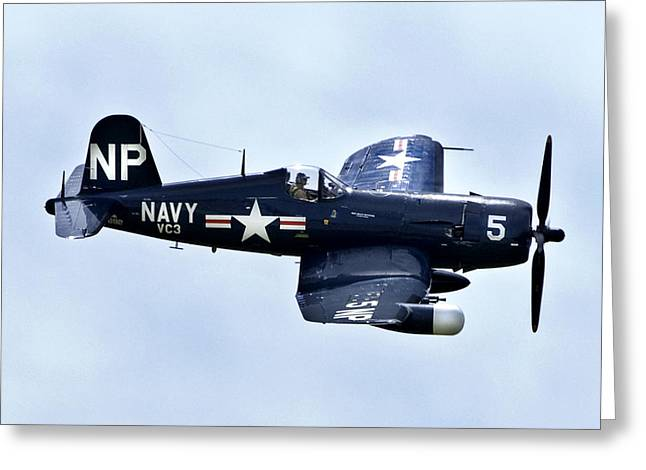 Helicopter Photographs Greeting Cards - Corsair In Flight Greeting Card by Greg Fortier