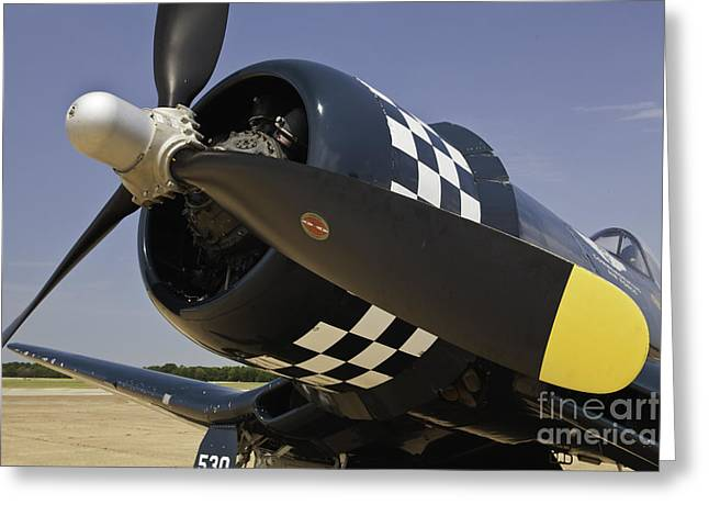 Airplane Art Framed Prints Greeting Cards - Corsair Up Close WWII Greeting Card by M K  Miller