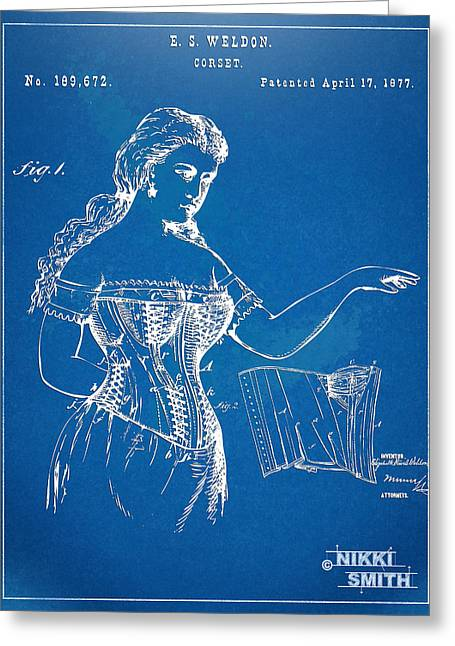 Fashionista Greeting Cards - Corset Patent Series 1877 Greeting Card by Nikki Marie Smith