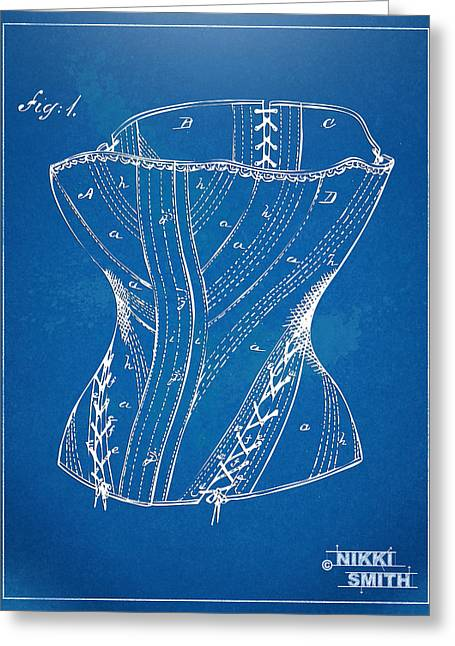 Fashionista Greeting Cards - Corset Patent Series 1884 Greeting Card by Nikki Marie Smith