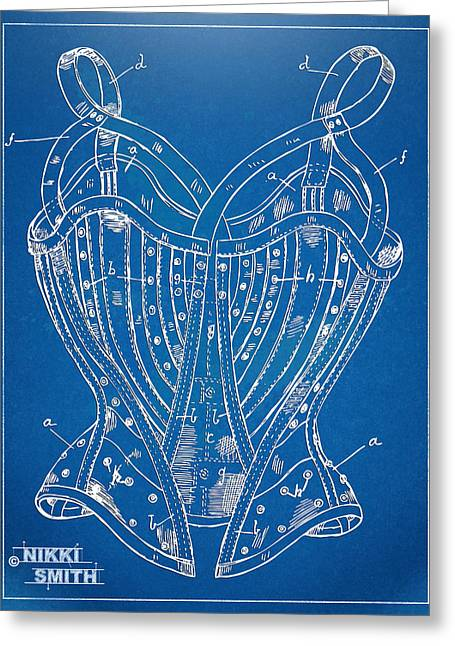 Fashionista Greeting Cards - Corset Patent Series 1905 French Greeting Card by Nikki Marie Smith