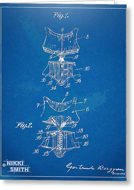 Fashionista Greeting Cards - Corset Patent Series 1907 Greeting Card by Nikki Marie Smith