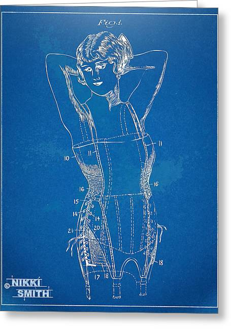 Fashionista Greeting Cards - Corset Patent Series 1924 Figure 1 Greeting Card by Nikki Marie Smith