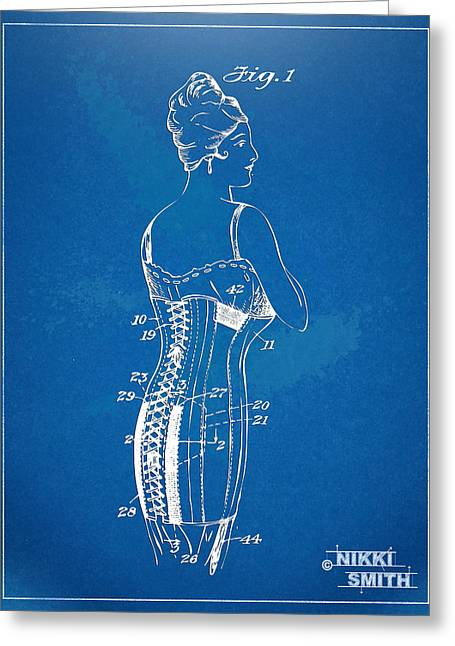 Fashionista Greeting Cards - Corset Patent Series 1924 Greeting Card by Nikki Marie Smith