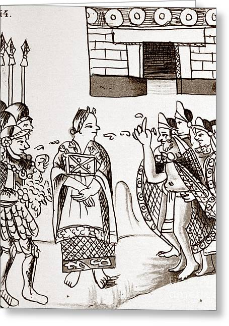 Mexico City Greeting Cards - Cortes & Montezuma, 1519 Greeting Card by Granger