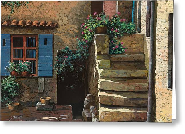 Courtyard Greeting Cards - Cortile Interno Greeting Card by Guido Borelli