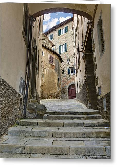 Hilltown Greeting Cards - Cortona vicolo Greeting Card by Al Hurley