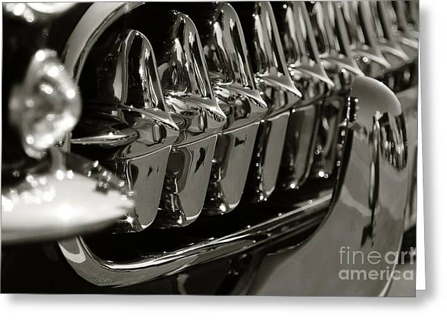Antique Automobiles Photographs Greeting Cards - Corvette grill Greeting Card by Dennis Hedberg