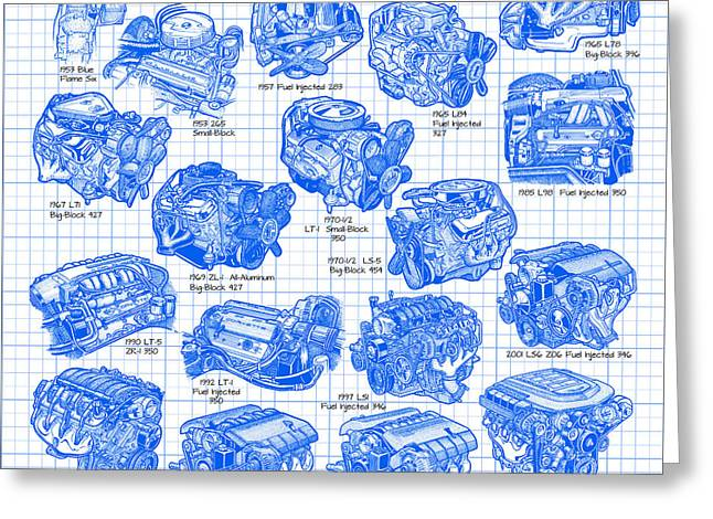 Corvette Power - Corvette Engines from the Blue Flame Six to the C6 ZR1 LS9 Greeting Card by K Scott Teeters