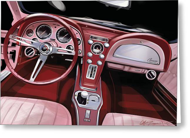 Automobile Artwork. Greeting Cards - Corvette Sting Ray Interior Greeting Card by Uli Gonzalez