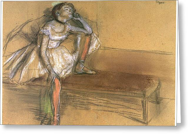 Ballet Dancers Pastels Greeting Cards - Coryphee Resting Greeting Card by Edgar Degas