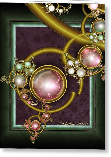 Karlajkitty Digital Art Greeting Cards - Cosmic Crystals Greeting Card by Karla White