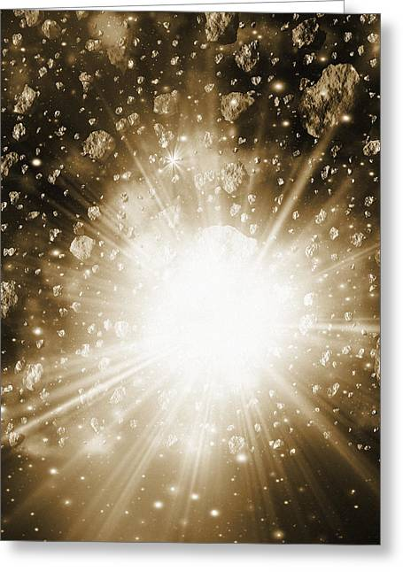 Cosmic Collision Greeting Cards - Cosmic Explosion, Computer Artwork Greeting Card by Mehau Kulyk