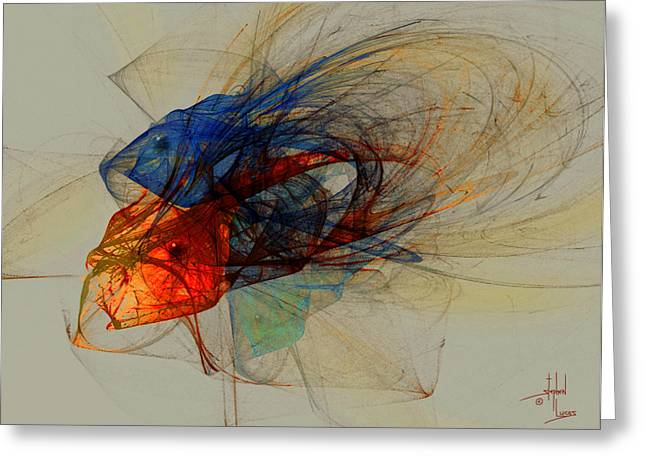 Yellow Fish Mixed Media Greeting Cards - Cosmic Fish Greeting Card by Stephen Lucas