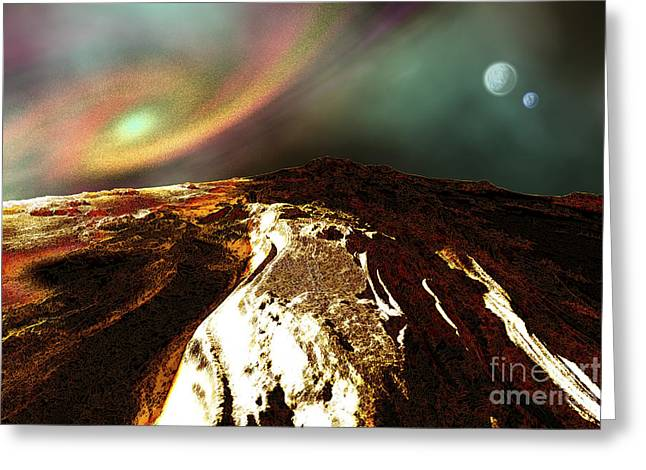 Cosmic Landscape Of An Alien Planet Greeting Card by Corey Ford