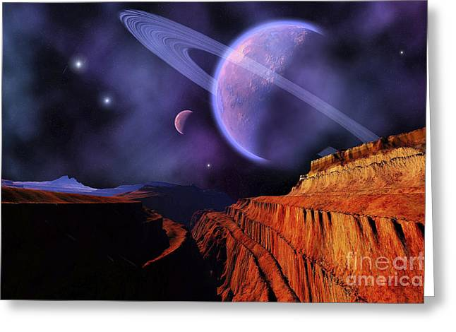 Star Valley Greeting Cards - Cosmic Landscape Of Another Planet Greeting Card by Corey Ford