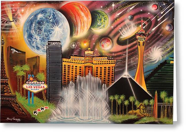 Outer Space Paintings Greeting Cards - Cosmic Las Vegas Greeting Card by Tony Vegas