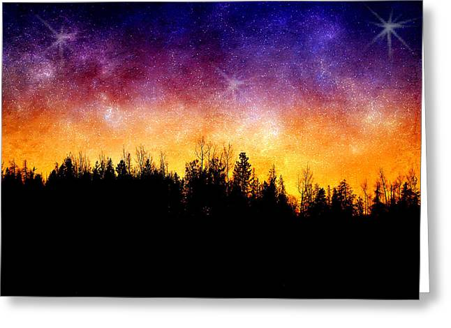 Night Forest Greeting Cards - Cosmic Night Greeting Card by Ellen Heaverlo