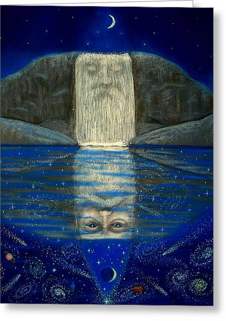 Fantasy Art Pastels Greeting Cards - Cosmic Wizard Reflection Greeting Card by Sue Halstenberg