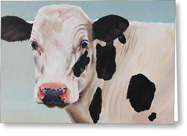 Black And White Cow Greeting Cards - Cosmoo Cow Greeting Card by Laura Carey