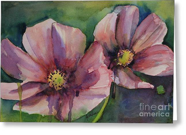 Drippy Paintings Greeting Cards - Cosmos Greeting Card by Gretchen Bjornson