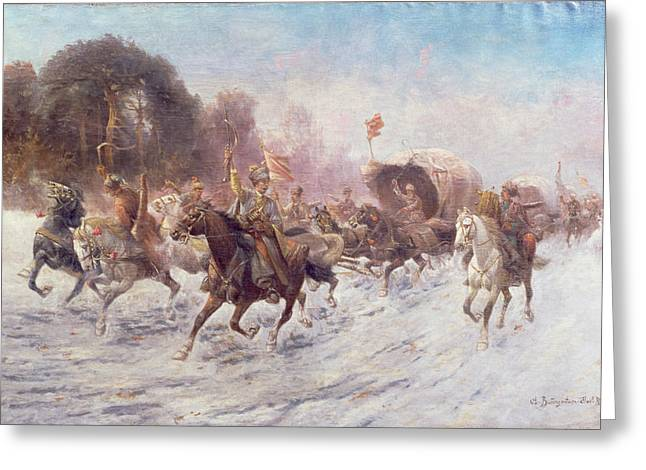 Horseman Greeting Cards - Cossacks in a winter landscape   Greeting Card by Anton Baumgartner Stoiloff