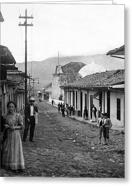 Costa Greeting Cards - Costa Rica - Village Street Scene - c 1905 Greeting Card by International  Images