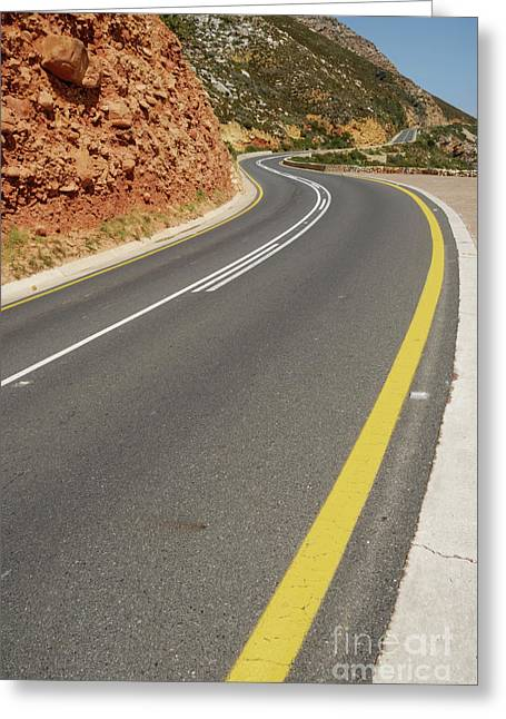 Yellow Line Greeting Cards - Costal road Greeting Card by Sami Sarkis