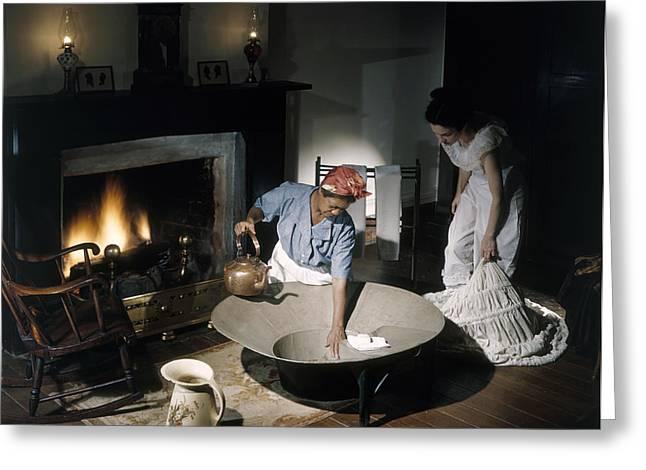 Multi-ethnic Greeting Cards - Costumed Women Reenact Taking A Bath Greeting Card by Willard Culver