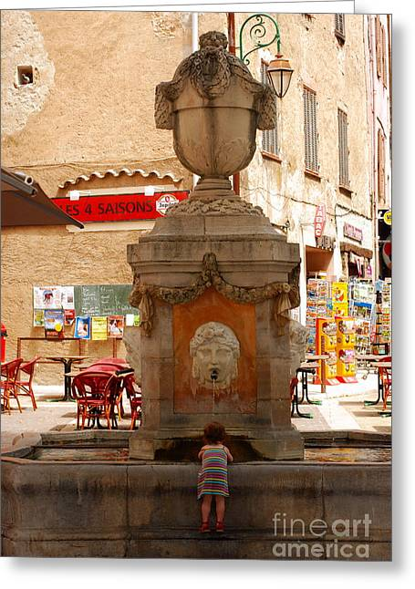 Provence Village Greeting Cards - Cotignac Fountain Greeting Card by Andrea Simon