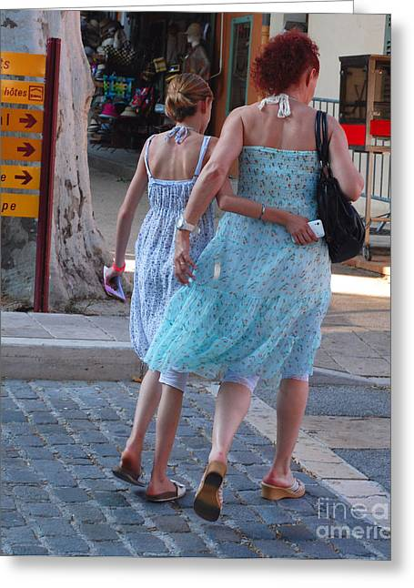 Provence Village Greeting Cards - Cotignac Mother and Daughter Greeting Card by Andrea Simon