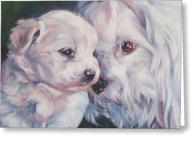 Coton De Tulear Greeting Cards - Coton De Tulear with pup Greeting Card by Lee Ann Shepard