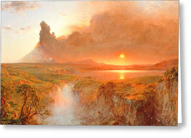 Sunlit Greeting Cards - Cotopaxi Greeting Card by Frederic Edwin Church