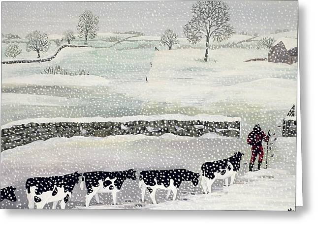 Fallen Snow Greeting Cards - Cotswold - Winter Scene Greeting Card by Maggie Rowe