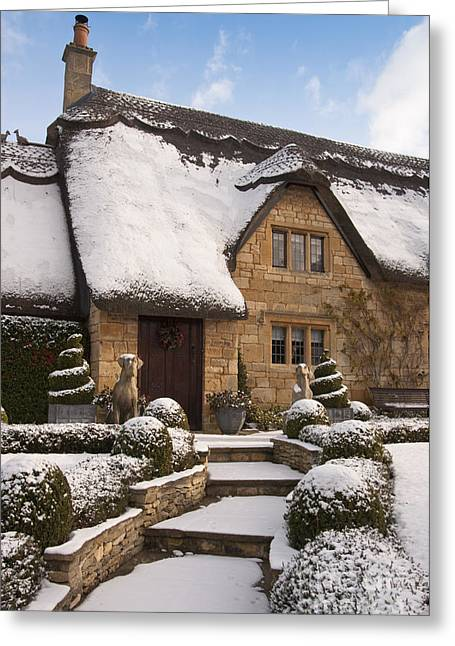 Vale Greeting Cards - Cotswolds cottage covered in snow Greeting Card by Andrew  Michael