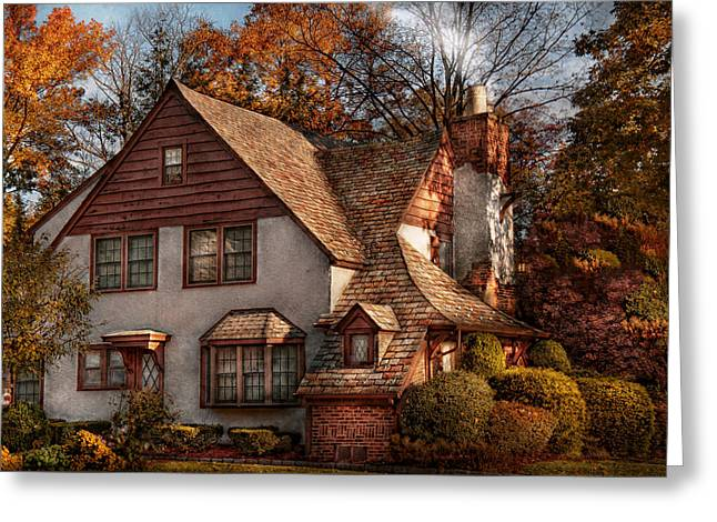 Suburbia Greeting Cards - Cottage - Westfield NJ - Family Cottage Greeting Card by Mike Savad