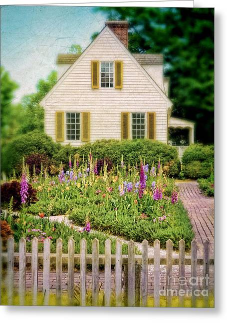 Charming Cottage Greeting Cards - Cottage and Garden Greeting Card by Jill Battaglia