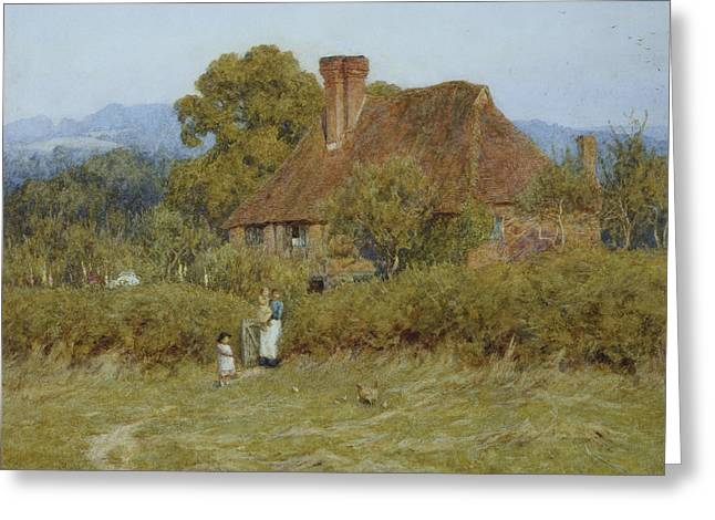 Animal Family Greeting Cards - Cottage at Broadham Green Surrey in Sunset Light Greeting Card by Helen Allingham