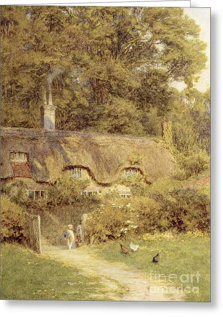 Wights Greeting Cards - Cottage at Farringford Isle of Wight Greeting Card by Helen Allingham