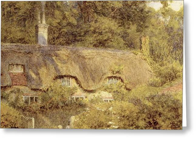 Cottage at Farringford Isle of Wight Greeting Card by Helen Allingham