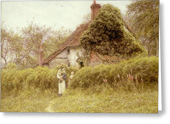 Three Children Paintings Greeting Cards - Cottage at Pinner Middlesex Greeting Card by Helen Allingham