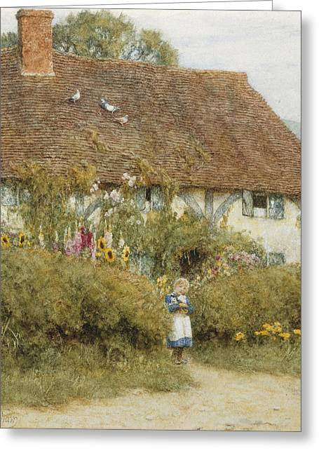 Apron Greeting Cards - Cottage at West Horsley Surrey Greeting Card by Helen Allingham