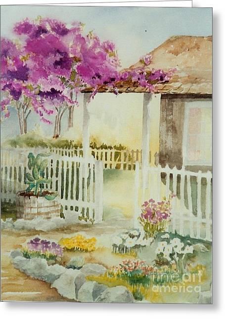 Maryann Greeting Cards - Cottage Garden Greeting Card by Maryann Schigur