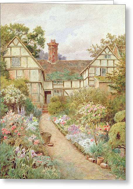 Thatched Cottage Greeting Cards - Cottage Garden Greeting Card by Thomas Nicholson Tyndale